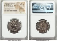 PHOENICIA. Aradus. Ca. 138/7-44/3 BC. AR tetradrachm (28mm, 15.12 gm, 12h). NGC XF 4/5 - 3/5, flan flaw, marks. Dated Civic Year 168 (92/1 BC). Veiled...