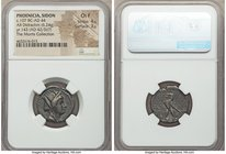 PHOENICIA. Sidon. Ca.107 BC-AD 44. AR half-shekel or didrachm (21mm, 6.24 gm, 12h). NGC Choice Fine 4/5 - 3/5. Dated Civic Year 143 (AD 42/3?). Veiled...