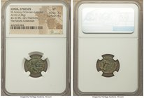 Second Triumvirate (ca. 43-33 BC). AE half unit (16mm, 2.38 gm, 12h). NGC VF 3/5 - 4/5. Ionia, Ephesus, 40-39 BC. Conjoined bare heads of Octavian, Ma...