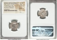 Marc Antony, as Triumvir and Imperator (43-30 BC). AR denarius (19mm, 3.72 gm, 7h). NGC Choice VF 4/5 - 4/5, bankers mark. Military mint moving with M...
