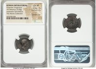 Octavian, as Triumvir (43-33 BC). AR denarius (19mm, 4.00 gm, 12h). NGC Choice VF 4/5 - 4/5, bankers mark. Military mint moving with Octavian, 40 BC, ...