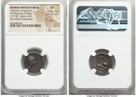 Octavian, as Triumvir (43-32 BC). AR denarius (19mm, 3.85 gm, 10h). NGC XF 4/5 - 3/5, scratch. Uncertain mint in Italy, 37 BC. IMP•CAESAR-DIVI•F•III•V...