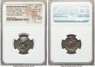 Octavian, as Sole Imperator (31-27 BC). AR denarius (21mm, 3.54 gm, 12h). NGC VF 4/5 - 2/5, scratches. Rome or Brundisium, autumn 32 BC-summer 31 BC. ...
