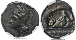 LUCANIA. Velia. Ca. 340-280 BC. AR didrachm (22mm, 7.64 gm, 8h). NGC XF 4/5 - 4/5, Fine Style. Head of Athena left, wearing crested Phrygian helmet or...