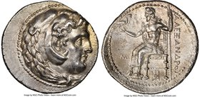 MACEDONIAN KINGDOM. Alexander III the Great (336-323 BC). AR tetradrachm (29mm, 17.17 gm, 1h). NGC Choice AU 5/5 - 3/5, Fine Style. Late lifetime or e...