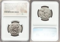 MACEDONIAN KINGDOM. Alexander III the Great (336-323 BC). AR tetradrachm (26mm, 16.86 gm, 4h). NGC Choice AU 5/5 - 3/5. Posthumous issue of Ake or Tyr...