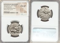 MACEDONIAN KINGDOM. Alexander III the Great (336-323 BC). AR tetradrachm (27mm, 8h). NGC Choice XF. Posthumous issue of Ake or Tyre, dated Regnal Year...