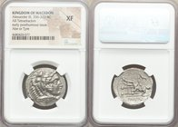 MACEDONIAN KINGDOM. Alexander III the Great (336-323 BC). AR tetradrachm (27mm, 11h). NGC XF. Lifetime or early posthumous issue of Tyre, by Laomedon,...