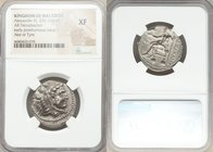 MACEDONIAN KINGDOM. Alexander III the Great (336-323 BC). AR tetradrachm (25mm, 7h). NGC XF. Posthumous issue of Ake or Tyre, dated Regnal Year 28 of ...
