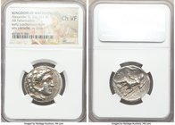 MACEDONIAN KINGDOM. Alexander III the Great (336-323 BC). AR tetradrachm (26mm, 2h). NGC Choice VF. Posthumous issue of uncertain mint in Greece or Ma...