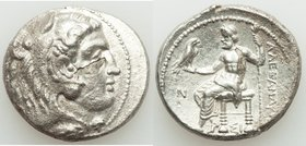 MACEDONIAN KINGDOM. Alexander III the Great (336-323 BC). AR tetradrachm (28mm, 1h). Choice XF, delamination. Early posthumous issue of Sidon, dated C...