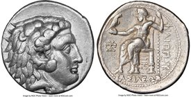 MACEDONIAN KINGDOM. Philip III Arrhidaeus (323-317 BC). AR tetradrachm (27mm, 17.11 gm, 8h). NGC Choice VF 4/5 - 4/5, die shift. 'Aradus', ca. 323-316...