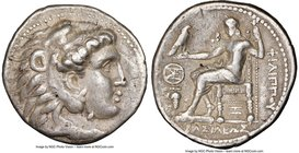 MACEDONIAN KINGDOM. Philip III Arrhidaeus (323-317 BC). AR tetradrachm (28mm, 17.15 gm, 7h). NGC VF 5/5 - 3/5. 'Aradus', ca. 323-316 BC. Head of Herac...