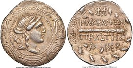 MACEDON UNDER ROME. First Meris. Ca. 167-148 BC. AR tetradrachm (30mm, 16.86 gm, 11h). NGC Choice XF 5/5 - 4/5. Diademed and draped bust of Artemis ri...
