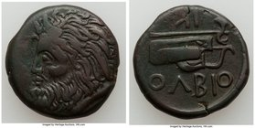 SCYTHIA. Olbia. Ca. 310-280 BC. AE (23mm, 10.47 gm, 6h). Choice Fine, smoothed. Horned head of Borysthenes left / OΛBIO, axe and bow in case; IK monog...