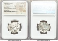 ATTICA. Athens. Ca. 440-404 BC. AR tetradrachm (24mm, 17.21 gm, 10h). NGC Choice AU 5/5 - 5/5. Mid-mass coinage issue. Head of Athena right, wearing c...