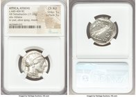 ATTICA. Athens. Ca. 440-404 BC. AR tetradrachm (24mm, 17.22 gm, 6h). NGC Choice AU 5/5 - 5/5. Mid-mass coinage issue. Head of Athena right, wearing cr...