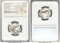 ATTICA. Athens. Ca. 440-404 BC. AR tetradrachm (24mm, 17.20 gm, 8h). NGC AU 5/5 - 3/5. Mid-mass coinage issue. Head of Athena right, wearing crested A...