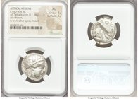 ATTICA. Athens. Ca. 440-404 BC. AR tetradrachm (23mm, 17.18 gm, 4h). NGC AU 4/5 - 4/5. Mid-mass coinage issue. Head of Athena right, wearing crested A...