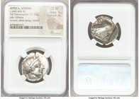 ATTICA. Athens. Ca. 440-404 BC. AR tetradrachm (24mm, 17.16 gm, 7h). NGC Choice XF 3/5 - 4/5. Mid-mass coinage issue. Head of Athena right, wearing cr...