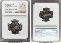 ATTICA. Athens. Ca. 440-404 BC. AR tetradrachm (24mm, 17.07 gm, 8h). NGC XF 5/5 - 4/5. Mid-mass coinage issue. Head of Athena right, wearing crested A...