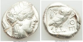 ATTICA. Athens. Ca. 440-404 BC. AR tetradrachm (23mm, 16.64 gm, 2h). XF, test cut. Mid-mass coinage issue. Head of Athena right, wearing crested Attic...