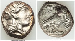 ATTICA. Athens. Ca. 393-294 BC. AR tetradrachm (20mm, 16.93 gm, 8h). VF, scratches. Head of Athena right, wearing Attic helmet ornamented with three l...