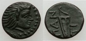 CIMMERIAN BOSPORUS. Panticapaeum. Ca. 310-304/3 BC. AE (12mm, 1.22 gm, 7h). XF, lt. smoothing, repatinated. Head of bearded Pan right / ΠAN-TI, bow in...