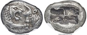 LYDIAN KINGDOM. Croesus (ca. 561-546 BC). AR sixth-stater or hecte (11mm, 1.74 gm). NGC Choice XF S 5/5 - 4/5. Sardes, ca. 550-546 BC. Confronted fore...