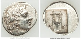 LYCIAN LEAGUE. Cragus. Ca. 1st century BC. AR hemidrachm (15mm, 1.90 gm, 12h). VF. Series 1. Laureate head of Apollo right; Λ-Y below / K-P, cithara (...