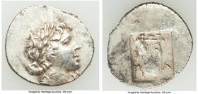 LYCIAN LEAGUE. Masicytes. Ca. 1st century BC. AR hemidrachm (16mm, 2.06 gm, 12h). XF. Series 1. Laureate head of Apollo right; Λ-Y below / M-A, cithar...