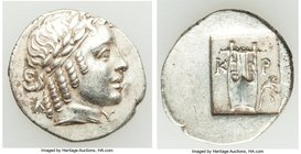 LYCIAN LEAGUE. Cragus. Ca. 1st century BC. AR hemidrachm (16mm, 1.92 gm, 12h). XF. Series 2. Laureate head of Apollo wearing wreath and taenia right; ...