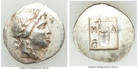 LYCIAN LEAGUE. Masicytes. Ca. 1st century BC. AR hemidrachm (17mm, 1.94 gm, 12h). XF. Series IV. Laureate head of Apollo right; Λ-Y below / M-A, citha...