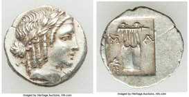 LYCIAN LEAGUE. Masicytes. Ca. 1st century BC. AR hemidrachm (14mm, 1.92 gm, 12h). XF. Series 5. Laureate head of Apollo right; Λ-Y below / M-A, cithar...