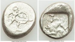 PAMPHYLIA. Aspendus. Ca. mid-5th century BC. AR stater (19mm, 10.88 gm). VF. Helmeted nude hoplite advancing right, shield in left hand, spear forward...