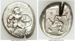 PAMPHYLIA. Aspendus. Ca. mid-5th century BC. AR stater (18mm, 10.97 gm). XF, test cut. Ca. 460-420 BC. Helmeted, nude hoplite advancing right, sword i...