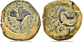 JUDAEA. Hasmoneans. Alexander Jannaeus (103-76 BC). AE prutah (16mm, 6h). NGC VF. Yehonatan the King (Paleo-Hebrew), lily; border of dots / BAΣIΛEΩΣ A...