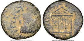 JUDAEA. Herodians. Herod Philip (4 BC-AD 34) AE (17mm, 11h). NGC VG, repatinated. Caesarea Panias, year 37 (AD 33/4). Laureate head of Tiberius right;...