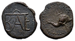 KINGS OF BOSPOROS. Polemo I, circa 14/3-10/9 BC. AE . Dolphin right over trident. Rev. Monogram of Polemo. MacDonald 232. Rare.