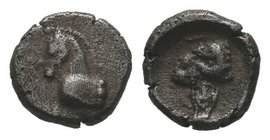 Uncertain mint AR Obol. Circa 4th century BC. Head of horse right / Head of ram right.