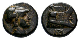 KINGS OF MACEDON. Demetrios I Poliorketes (306-283 BC). Ae. Salamis. Obv: Helmeted head of Athena right.Rev: BA. Prow right; monogram below.SNG Alpha ...