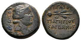 BITHYNIA. Nikaia. C. Papirius Carbo (Procurator, 62-59 BC). Dichalkon. Dated BE 222 (59 BC).Obv: NIKAIEΩN / BKΣ. Head of Dionysos right, wearing ivy w...
