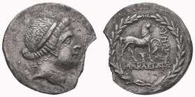 AEOLIS. Cyme. Ca. 145 BC. Silver tetradrachm. Head of Amazon Cyme right, wearing hairband / KUMAIWN,, horse walking right, left foreleg raised above e...