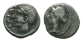 Cilicia, Nagidos, c. 400-380 BC. AR Obol . Head of Aphrodite l., hair in sphendone. R/ Bearded head of Dionysos r. Göktürk 3; SNG France 6-12; SNG Lev...