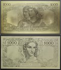 France Set of 3 Gold Banknotes