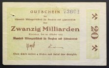Germany Weimar Mansfeld Railroad Notgeld 20 Milliard 1923
