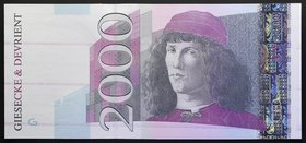 Germany 2000 Units (Euro) Test Note Specimen