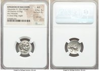 MACEDONIAN KINGDOM. Alexander III the Great (336-323 BC). AR drachm (17mm, 4.30 gm, 9h). NGC AU 4/5 - 4/5, die shift. Lifetime issue of Lampsacus, ca....