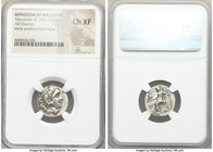 MACEDONIAN KINGDOM. Alexander III the Great (336-323 BC). AR drachm (17mm, 11h). NGC Choice XF. Posthumous issue of Colophon, 319-310 BC. Head of Hera...
