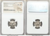 MACEDONIAN KINGDOM. Alexander III the Great (336-323 BC). AR drachm (17mm, 1h). NGC Choice XF, overstruck. Early posthumous issue of Sardes, ca. 323-3...